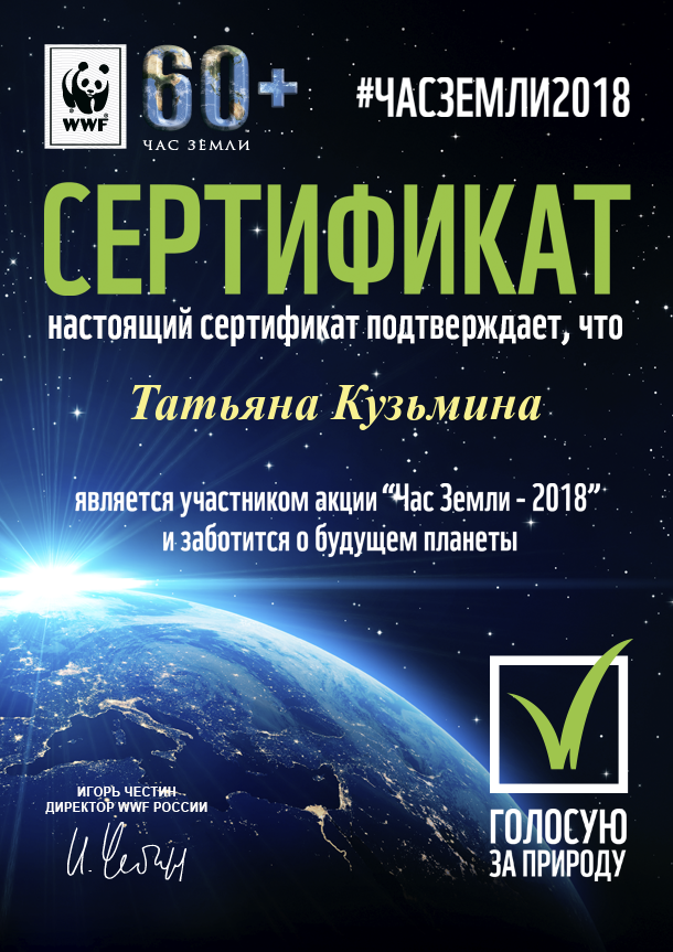Сертификат ЧАС ЗЕМЛИ Кузьмина